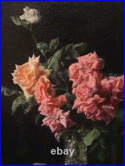 Fine Large 20th Century Flowers Still Life Pink & Red Roses Glass Vase Painting