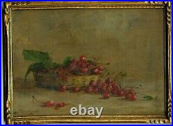 France 1910 The Cherry Basket, Still Life, Antique Frame, Listed Woman Artist