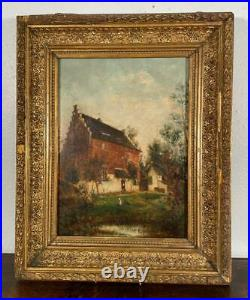 French Antique Oil on Panel Painting of a Country Home/Farmhouse