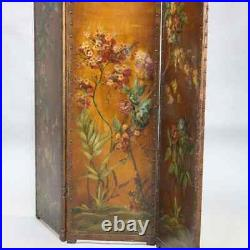 French Victorian Hand Painted Floral Oil on Canvas Dressing Screen, circa 1890