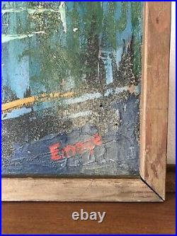 HUGE Vintage MID-CENTURY Modern ABSTRACT Cityscape OIL PAINTING Chicago SKYLINE