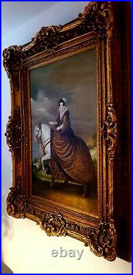 Horse Rider Oil Painting Portrait Equestrian Countess 24 x 36