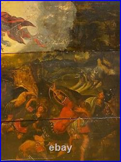 Huge 17th Century Flemish Old Master The Conversation Of Saint Paul Oil Painting