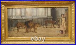 Huge 19th Century Classical Ancient Rome Colosseum Nude Maiden Lions Tigers