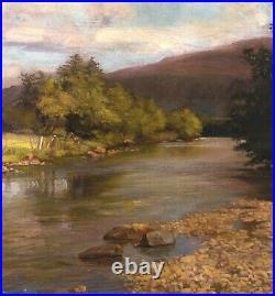 Huge 19th Century English Country River Landscape Benjamin Williams Leader