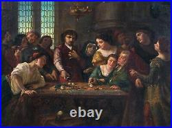 Huge 19th Century French Medieval Gambling Dice Game Antique Oil Painting