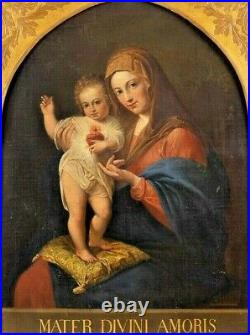 Italian Renaissance Old Master Madonna Jesus Love 1700 Huge Antique Oil Painting