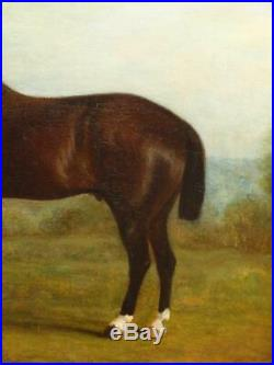 JOHN E FERNELEY 1782-1876 BAY HORSE IN A LANDSCAPE Antique Oil Painting
