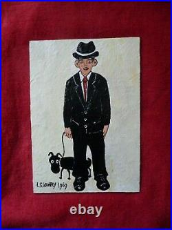L S Lowry, Lovely Painting of a Gentleman and his Dog