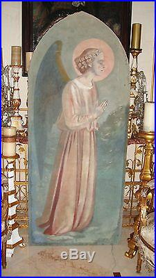 LIFE SIZE FRENCH ANTIQUE OIL on CANVAS PAINTING ANGEL PINKS BLUES ARCHED FRAME