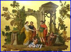 Large 17th Century French Old Master The Marriage Of Venus & Mars On Gold Leaf