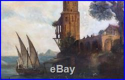 Large 18th Century British Royal Navy Ships Off The Coast Antique Oil Painting