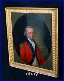 Large 18th Century Portrait Of A British Military Officer Antique Oil Painting