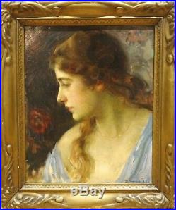 Large 1920 European School Portrait Of A Lady Signed Antique Oil Painting