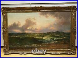 Large 19th Century After The Storm, Isle Of Arran Thomas Rose Miles Antique