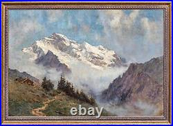 Large 19th Century French Swiss Alps Mountain Landscape Arnold PRIESTMAN