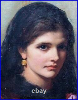 Large 19th Century Portrait Of A Spanish Beauty Lady Charles Sillem LIDDERDALE