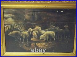 Large Antique 16 x 20 FLOCK OF SHEEP in Barn Stable OIL PAINTING Framed