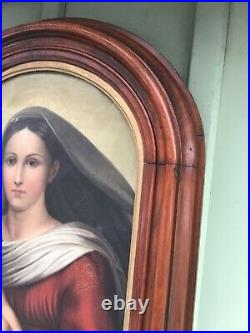 Large Antique 19th Century Madonna & Child Oil/Painting Great Black Walnut Frame