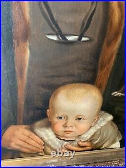 Large Antique Portrait Painting Tudor Man By Ford Maddox Brown Pre-Raphaelite