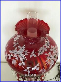 Large Antique Vintage Painted Cranberry Red Glass Hanging Prisms Oil Lamp