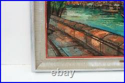 Large Antique oil painting on canvas, Venice, Italy, Artist Gini, framed