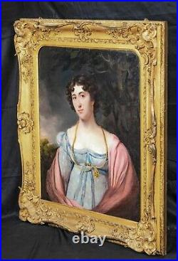 Large Early 19th Century English School Portrait Of A Lady Antique Oil Painting