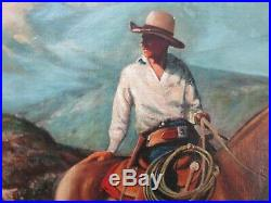 Large Fine Western Cowboy Painting Antique Farm Early California Landscape