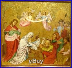 Large German 16th Century Old Master Adoration Of The Shepherds Antique Painting
