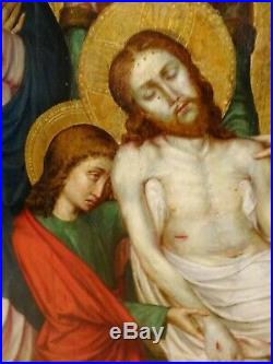 Large German 16th Century Old Master Lamentation Of Christ Antique Painting