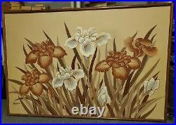 Letterman original old Painting 60s 70s Wood Frame 60 X 40