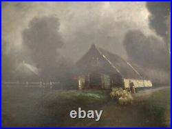 Mid 19th Century antique Original Oil Painting Dutch Style Signed beautiful work