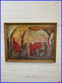 Mid Century Abstract Oil On Board Painting Vintage Antique 1960s Signed Art