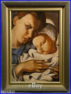 Mother & Child Oil Painting Oil On Canvas 20 X 28.5 Signed Tamara Lempicka