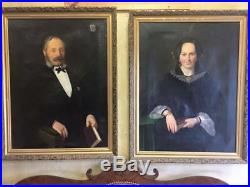 Oil Painting, Portraits, Framed of Man and Wife, (1800s), Impressive Antiques