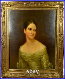 Oil Painting on Board Portait 1800s Beautiful Woman Antique Framed 29x35