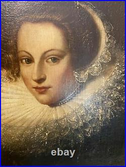 Old Master Antique 17th C Portrait Painting of a Noble Lady-dated