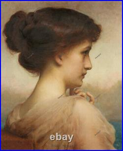 Old Master Art Antique Portrait Woman Adolphe Piot Oil Painting Unframed 24x30