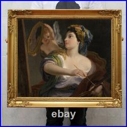 Old Master-Art Antique portrait oil Painting noblewoman Angel on canvas 30x40