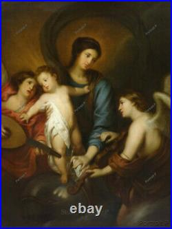 Old Master Painting Art Antique Madonna and Child Religious Oil Unframed 24x30