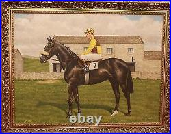 Original Realistic Oil Painting by WF Perrin, Racehorse With Jockey