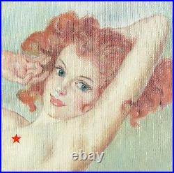 Original Vintage Nude Girl Female Woman Pin Up Pinup Painting Signed Fried Pal