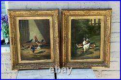 PAIR of pendant antique flemish painting chicken ducks animal oil panel signed
