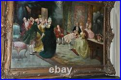 Palatial size Antique Painting young Mozart and Marie Antoinette'' O/C