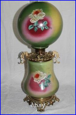 RARE Hand Painted Gone with the Wind Oil Lamp With ROSES (GWTW Banquet Lamp)
