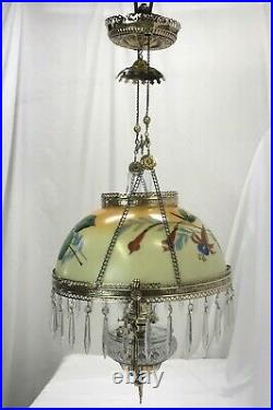 RESTORED Antique Copper & Brass Hanging Oil Lamp Hand Painted Floral Glass Shade