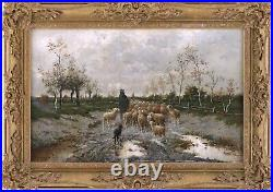 Shepherd with Flock Antique Oil Painting Louise J. Guyot (French, 19th Century)