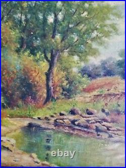 Signed Antique Oil Painting Landscape G Hubbard on Board