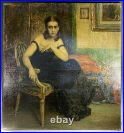 Stunning Antique French Impressionist Portrait, Oil Painting of Woman, Interior