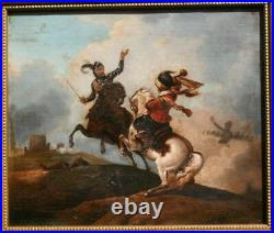 THE BATTLE FOLLOWER OF PHILLIP WOUWERMAN 18thC OLD MASTER ANTIQUE PAINTING